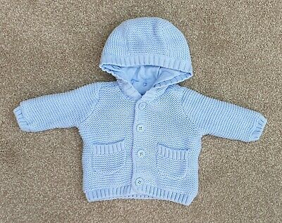 Baby Blue Soft Knitted Hooded Cardigan Mothercare Size Newborn Ex Condition