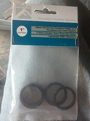 """Forte 1/"""" Diameter threadless headset spacers 5mm and 3mm- new includes 10mm"""