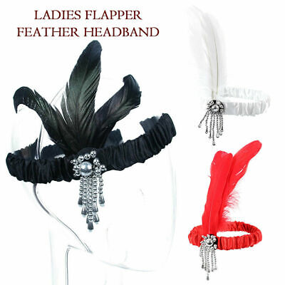 Vintage Sequin Feather Flapper Headband 1920s Great Gatsby Headdress Headpiece