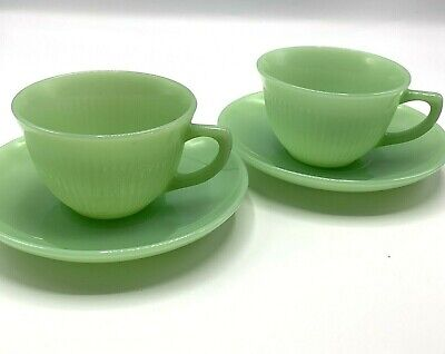 Vtg Pair Anchor Hocking Fire-King Jadeite Jane Ray Cup Saucer Set Green Jade USA