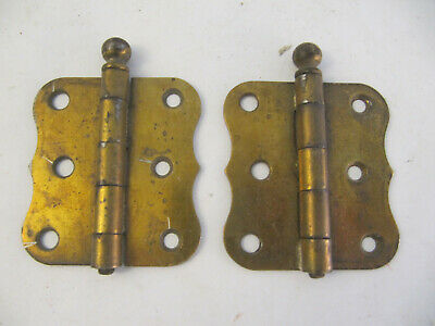 """Vintage Pair of Scalloped Stanley 3"""" Ball Finial Pin Brass Plated Hinge"""