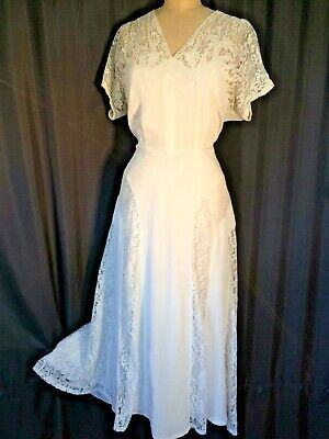 Vintage wedding Dress bridal Gown white 40's lace fit and flare XL 50's MCM ss