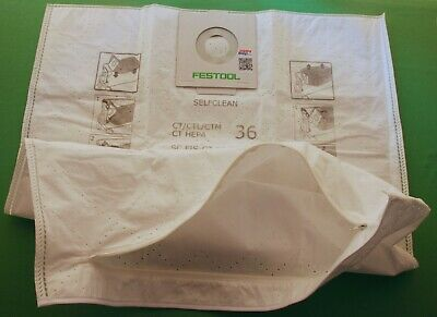 Festool 496186 REUSABLE WITH ZIP Selfclean Filter Bag for SC FIS CT CTL CTM 36