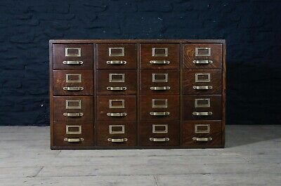Antique Bank of 16 Drawers with Brass Fittings ~ Oak Haberdashery Cabinet