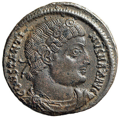 "Constantine I The Great AE18 ""GLORIA EXERCITVS Soldiers"" Antioch RIC 86"