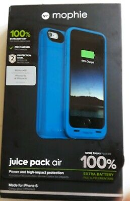 Mophie Juice Pack Air 100% Extra Battery Blue Case For iPhone 6/6s 2750 mAh