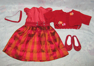 Maplelea Doll Red Plaid Dress, Cardigan, Shoes - Outfit, Clothes - Christmas