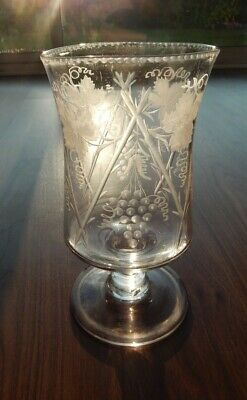 Stunning Victorian Etched Glass Hurricane Candle Holders - Ivy & Grapes Detail