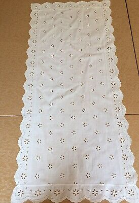 "36"" long Vintage Off White Eyelet Table Runner Linen"