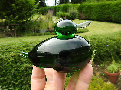 Vintage / Retro Emerald Green Art Glass Dumpy Duck Paperweight 600 grams
