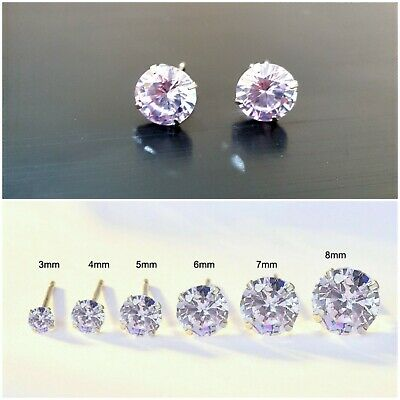 Genuine 925 Sterling Silver Cubic Zirconia Stud Earrings Lavender Women Men Cz