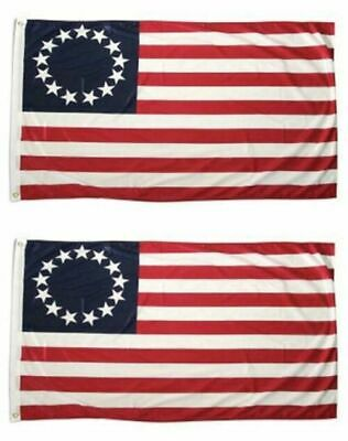LOT 2 3x5 FT POLYESTER US AMERICAN BETSY ROSS 13 STAR USA HISTORIC FLAG WWG1WGA