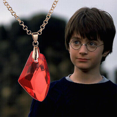 New Harry Potter The Philosopher's Stone Hogwarts Red Crystal Necklace Gift Bag