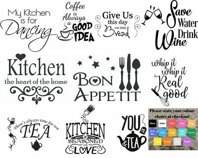 Wall art stickers for kitchen, removeable Home decor, quality DIY decal quotes
