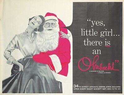 Original Vintage Poster Ohrbachs New York Santa Christmas Department Store 1950s