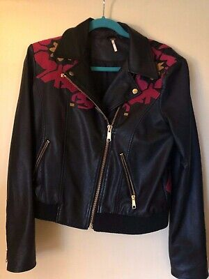 567c90b64 FREE PEOPLE EMBROIDERED Vegan Bomber Black Faux Leather Moto Jacket ...
