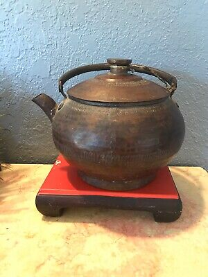Early 19Th Century Large Antique Copper Tea Pot Hand Forged