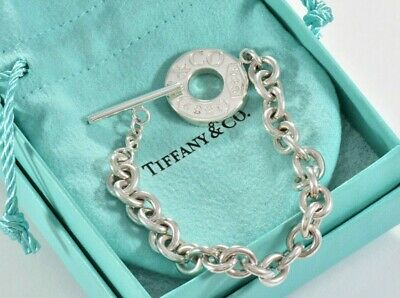"""Tiffany & Co Sterling Silver 1837 Toggle Chain 7.5"""" Bracelet +Pouch RARE Lovely"""