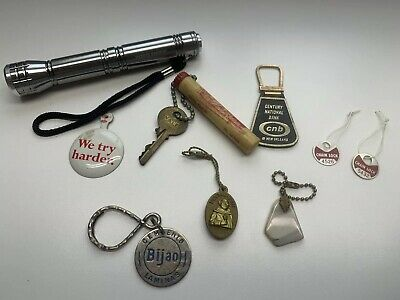 Vtg Junk Drawer Lot Mixed Collection Avis We Try Harder Toyo Tires Flashlight QQ