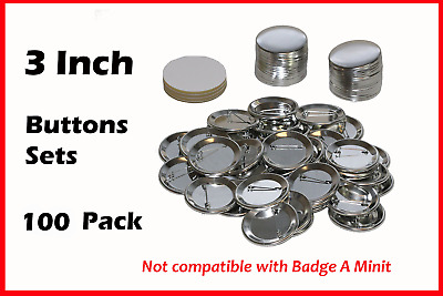 3 Inch Diameter 100 Pack Metal Round Buttons Parts - Metallic Badge Making