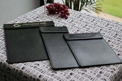 A4 Elegant Black Faux Leather Menu Boards/Magnetic Header with Printing Option