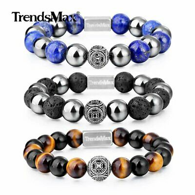 Tiger Eye & Hematite Bead Bracelet AAA Natural Stone Stretch 925 Sterling Silver