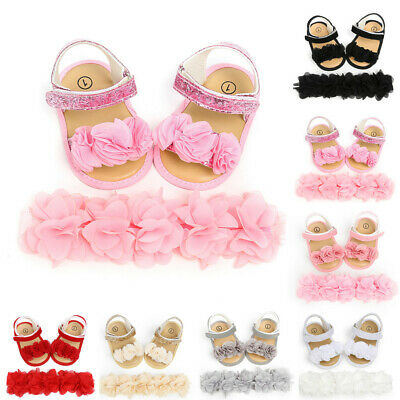 Newborn Baby Infant Girl Hairband Flower Sequins Sandal First Walkers Shoes Sets