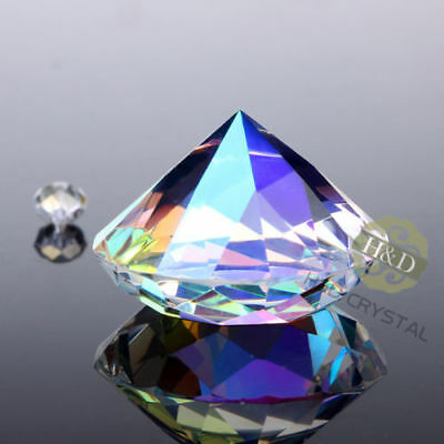 Crystal Colorful Paperweight Faceted Cut Glass Giant Diamond Decor Craft 30mm