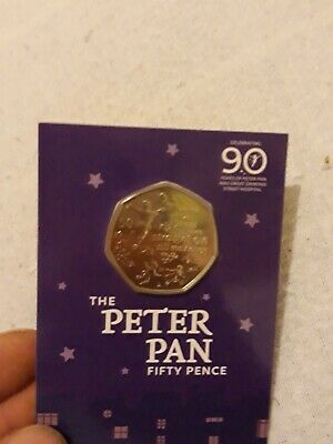 2019, Limited Edition, Isle of Man; 50p. Anniversary-Peter Pan. B. UNCIRCULATED