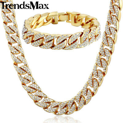 14mm Miami Curb Cuban Yellow Gold Filled Necklace Bracelet Set Men Chain Jewelry