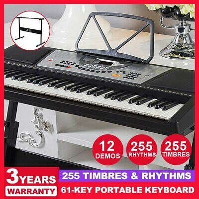 ALPHA 61 Keys Portable LED Electronic Music Piano Keyboard with Adjustable Stand