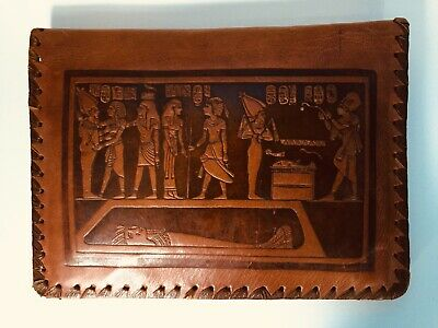 Vintage Rare Leather PASSAN TUNSI CLUTCH Made in Egypt (Hand Tooled Scenes)