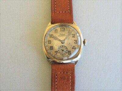 RONE  SPORTSMANS 9k HM GOLD Mid-Size Cushion shape 1930's WRISTWATCH