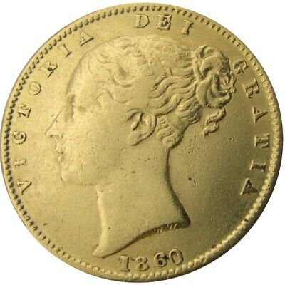 GREAT BRITAIN - Victoria Young Head 'Shield Back' Gold Sovereign 1860 VF