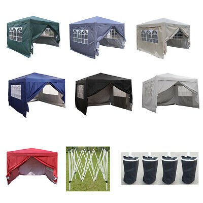 Heavy Duty 3x3m Waterproof Pop Up Gazebo Garden Wedding Party Tent with Sides UK
