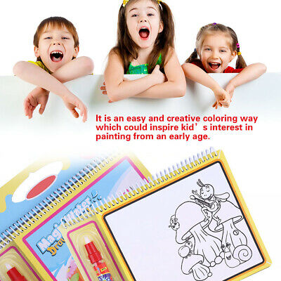 UK Kids Water Magic Painting Book Gift Set Colouring No Messy for Children w/Pen