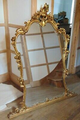 Beautiful Large Antique Rococo Style Overmantle Mirror