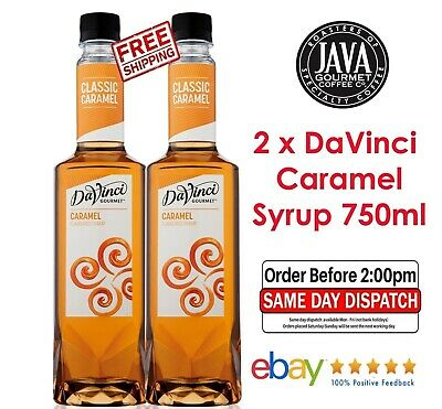 2 x DaVinci Caramel Flavoured Syrup 750ml  FRESH STOCK New Design