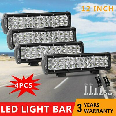 4x 12inch 120W CREE LED Light Bar Spot Flood Offroad 4WD Work Driving Fog Lamps