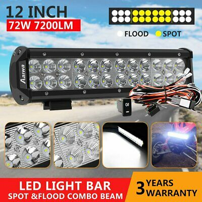 12inch LED Light Bar Driving Work SPOT FLOOD Combo CREE 4WD CAR ATV+ Wiring Kit