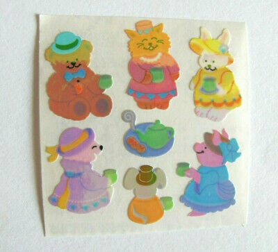 Vintage Sandylion Pearly Pearly Opal MOP Tea Party Pig Bunny Bear Sticker Mod