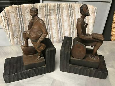Old Vintage Retro Wooden Carved Men Bookends Timber Mid Century Ornament Lincoln