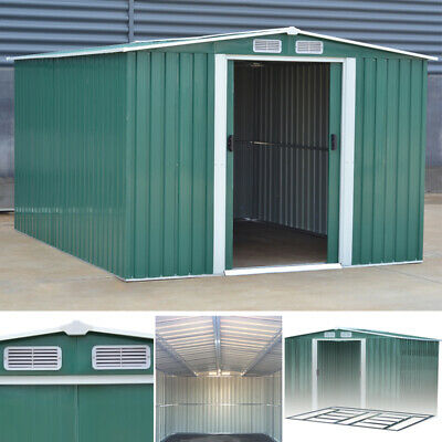 Apex/Pent Garden Shed Heavy Steel Metal Patio Tool Sheds W/ Air Vent Foundation
