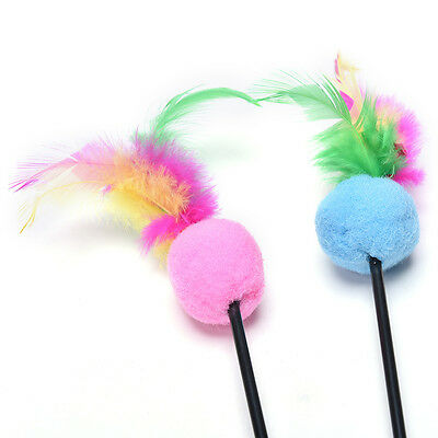 2x Steel Wire Kitten Cat Toy Feather Rod Teaser Bell Play Pet Dangler Wand ZW