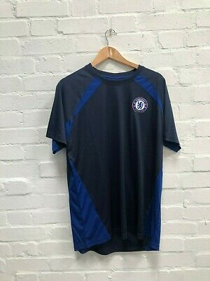 Chelsea FC Official Men's Club Poly T-Shirt - Large - Navy - New