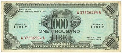 1000 Am Lire Occupazione Americana In Italia Bilingue Flc 1943 A Bb/Bb+