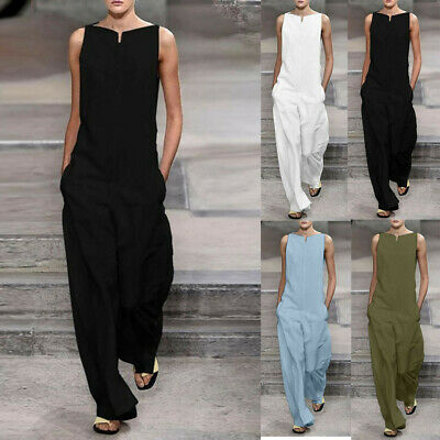Women Casual Solid Loose Cotton Sleeveles Broad-legged Pants Rompers Jumpsuits