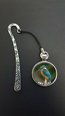 Personalised Kingfisher Pendant On a Metal Bookmark Ideal Birthday Gift N110w