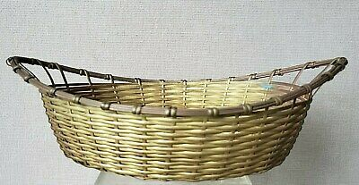 oval VTG brass WOVEN wire BASKET bread NUTS fruit