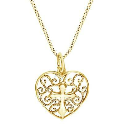 Christmas Special Love Heart and Cross 14K Yellow Gold Over Pendant Women's